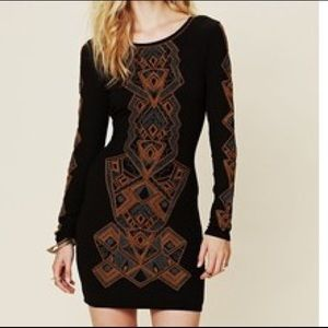 Aztec embroidery black Free People dress